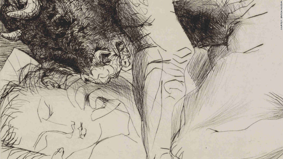 The pictures will go on display at the British Museum in London from May 3 to September 2, 2012 -- the first time a complete suite of the etchings have been shown in Britain in 50 years.