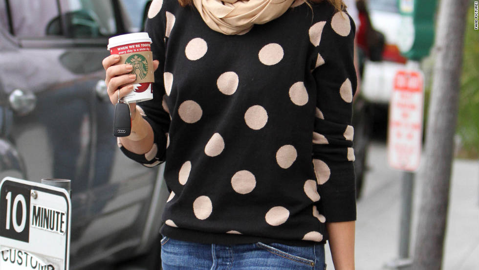 Jessica Alba grabs coffee in Beverly Hills.
