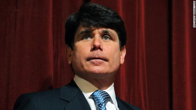 (FILES): This February 15, 2008 file photo shows then Illinois Governor Rod Blagojevich at a press conference at Northern Illinois University in DeKalb, Illinois. Blagojevich was convicted on June 27, 2011 of 17 of the 20 charges against him, including all 11 charges related to his attempt to sell or trade President Barack Obama's vacated Senate seat. The jury found him not guilty of soliciting bribes in the alleged shakedown of a road-building executive. The panel deadlocked on a charge of attempted extortion on that same case. AFP PHOTO/ Amanda Rivkin (Photo credit should read Amanda Rivkin/AFP/Getty Images)