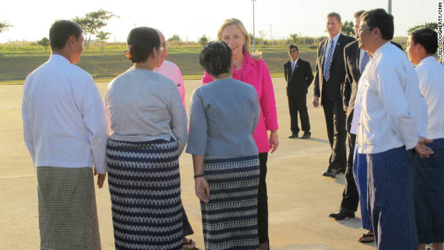 Secretary Clinton lands in Myanmar