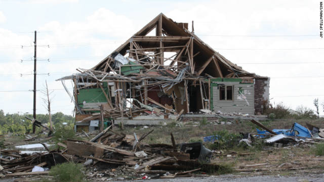 Joplin, Missouri, was hit hard by a devastating tornado on May 22.  The town is still rebuilding, as show in this photo taken four months later.