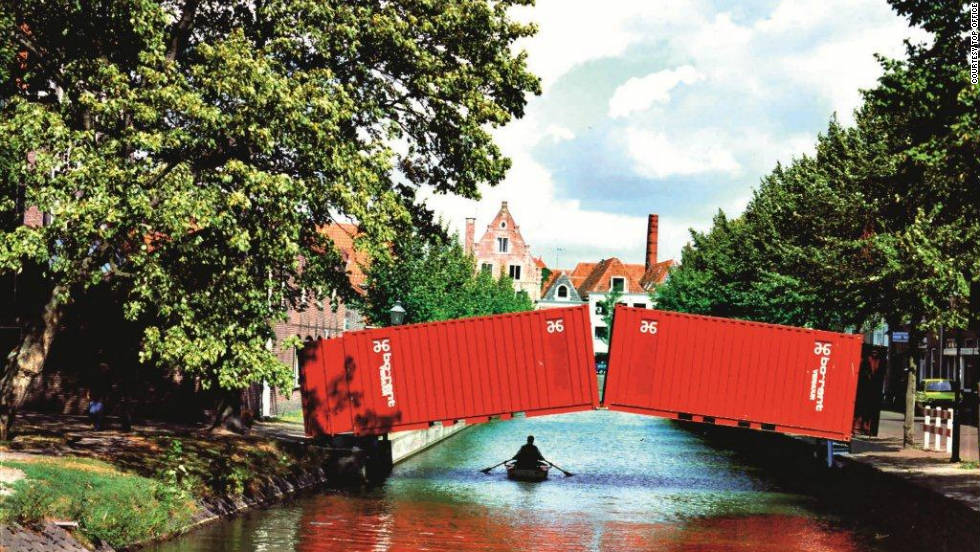 "A  temporary ""pop-up"" bridge for cyclists and pedestrians has appeared in the Dutch city of Hoorn."