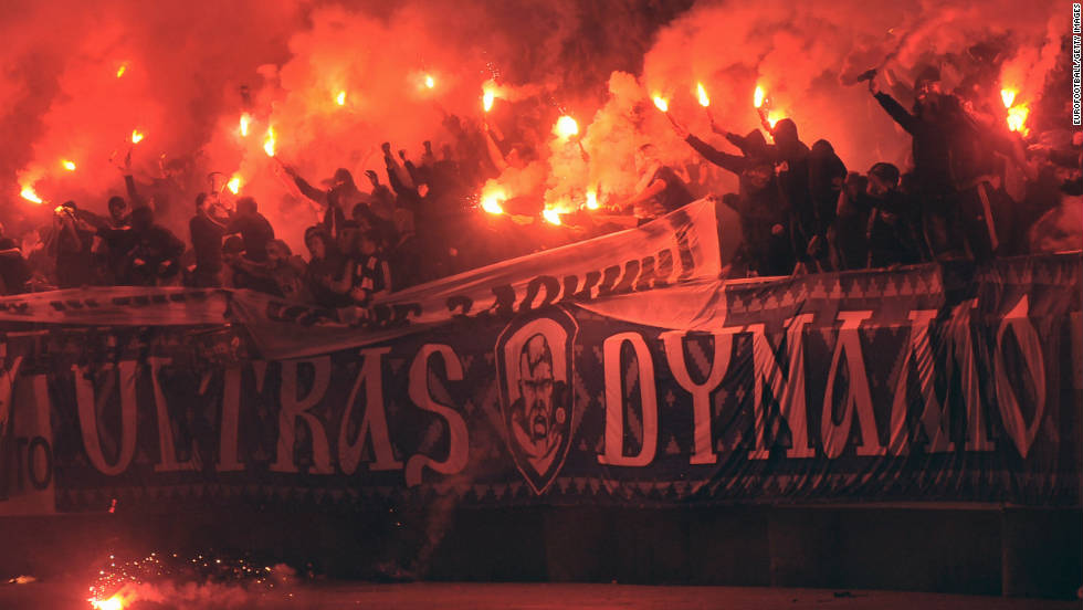 Ukrainian fans are known for creating a formidable atmosphere in their own stadiums. Here, Dynamo Kiev's fans hold flares during a match between their team and rivals Shakhtar Donetsk.