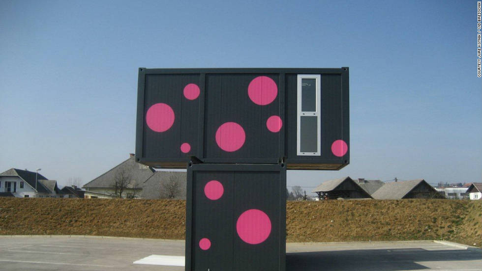 "Kotnik's own work with shipping containers explores the potential for living space. This contemporary weekend house with sticker facade ""expresses an individuality-based society"" says the 31 year-old Slovenian architect."