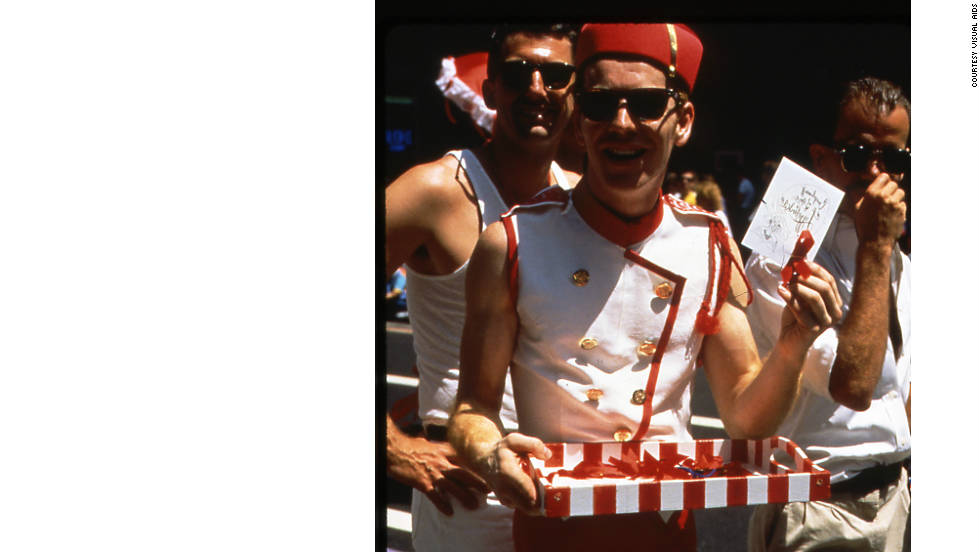 Red ribbons were worn as part of The Ribbon Cavalcade, a traveling parade slash fashion show slash moral booster for those in the trenches of early AIDS activism.
