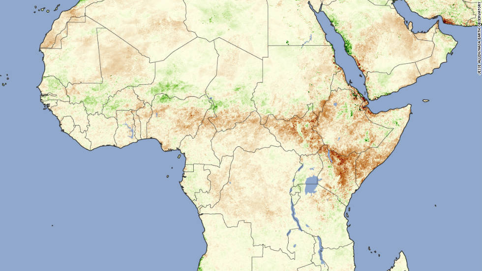 "Twelve million people were facing<a href=""http://edition.cnn.com/2011/WORLD/africa/07/21/africa.famine.voices/index.html""> starvation in the Horn of Africa</a> in July as devastating droughts hit the region. NASA's image depicts plant activity, with darker brown representing sparser growth. The drought lasted until early October, says the WMO, when a deluge of rain fell providing relief but also damage to crops."