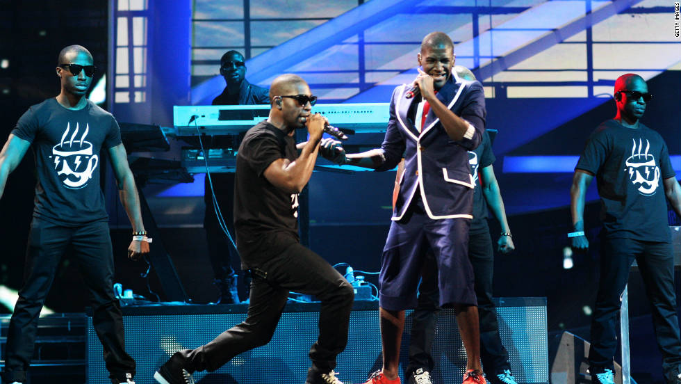 Labrinth and Tinie Tempah perform onstage in rehearsal for The Brit Awards 2011 held at The O2 Arena on February 15, 2011 in London, England.