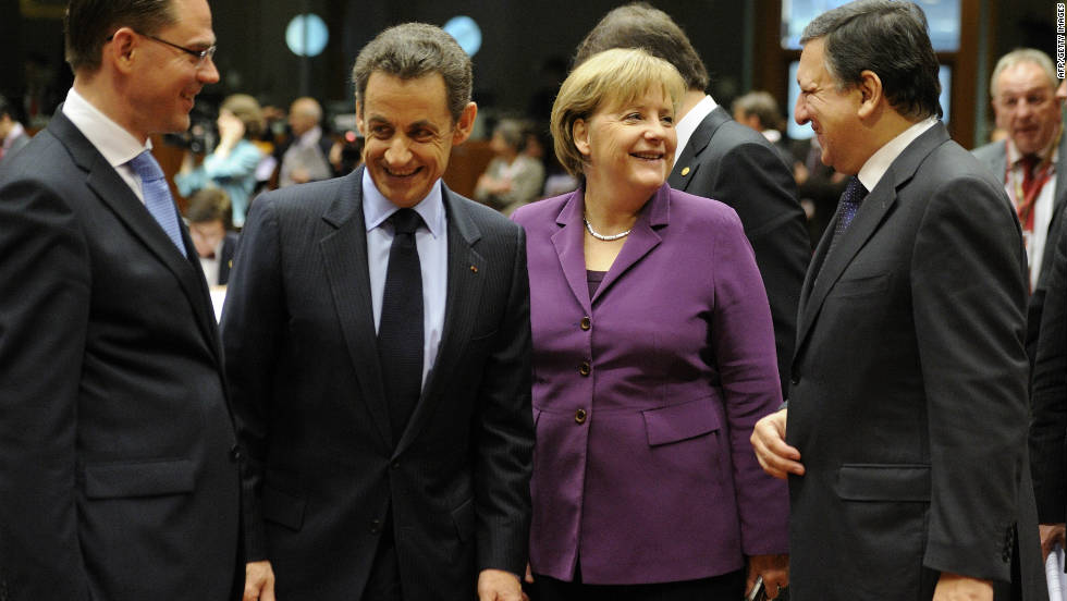 French President Nicolas Sarkozy and German Chancellor Angela Merkel have been under pressure to resolve the euro crisis.