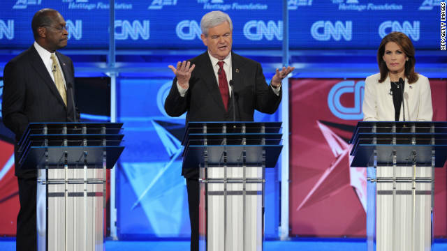 Herman Cain, Newt Gingrich and Michele Bachmann at the GOP presidential debate on national security November 22.