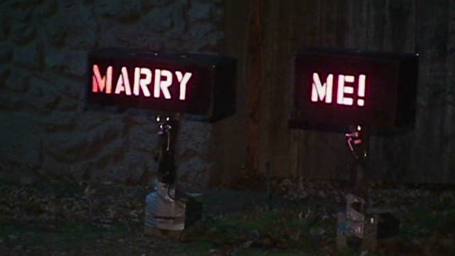 A Christmas light proposal