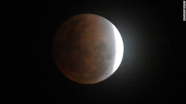A partial lunar eclipse as seen in the Philippines on Saturday.
