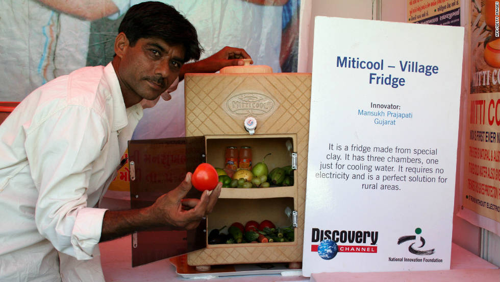 The Mitticool solar fridge was developed and launched by Indian engineer, Mansukhbhai Prajapati in 2006. Made from clay, the device runs entirely on solar power and can keep items of food fresh for up to five days. A valuable addition to rural communities with no access to electricity.
