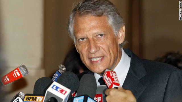 France's former Prime minister Dominique de Villepin addresses to journalists at Paris courthouse on September 14, 2011,