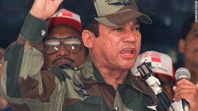 Former Panamanian dictator Manuel Noriega speaks during a military ceremony on May 20, 1988.