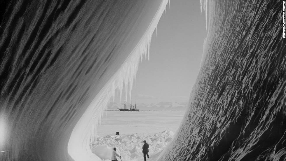 "It includes images shot by photographer Herbert Ponting, ""one of the finest photographers of the 20th century."" Photo: Scott's team encountering an ice cave."