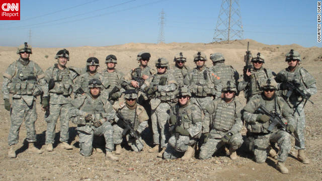 Eric Sofge with his platoon served in Iraq in 2007.