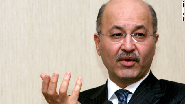 Barham Salih, prime minister of Kurdistan Region Government (KRG), speaks during a press conference in the northenr Iraqi city of Arbil on February 21, 2011.