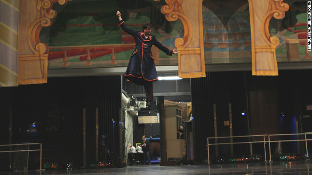 "Carolina Ballet dancer Dameon Nagel rehearses the role of Drosselmeyer for the company's production of ""The Nutcracker."""