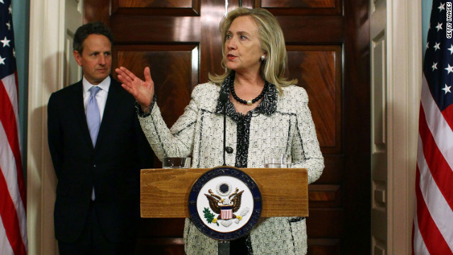 Secretary of State Hillary Clinton and Treasury Secretary Timothy Geithner announce new sanctions against Iran  last month.