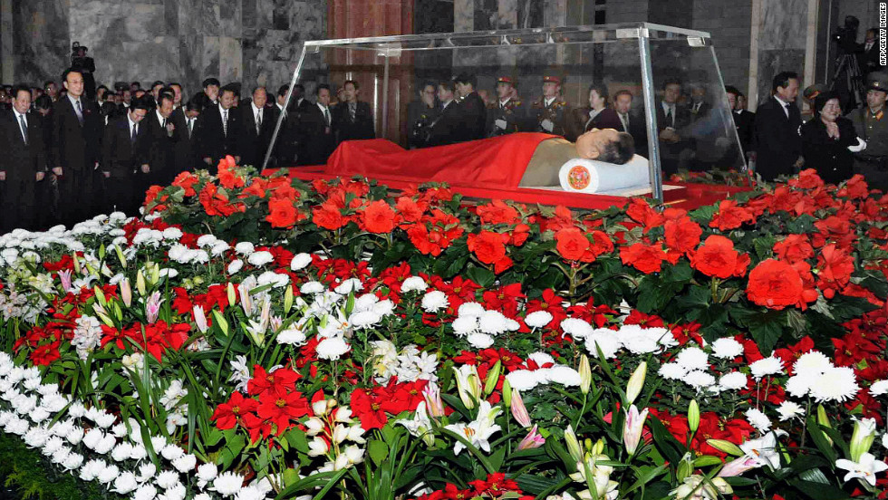 The body of Kim Jong Il lies in a glass coffin at the Kumsusan Memorial Palace in Pyongyang, North Korea, on Tuesday, December 20. Thirteen days of nationwide mourning will take place for Kim, who died Saturday, December 17.