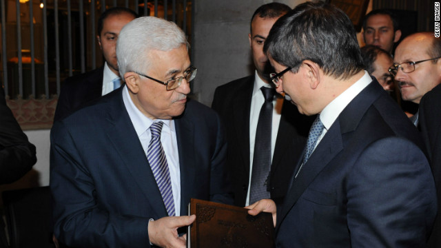 Palestinian President Mahmoud Abbas, left, talks with Turkish Foreign Minister Ahmet Davutoglu in December in Konya, Turkey.