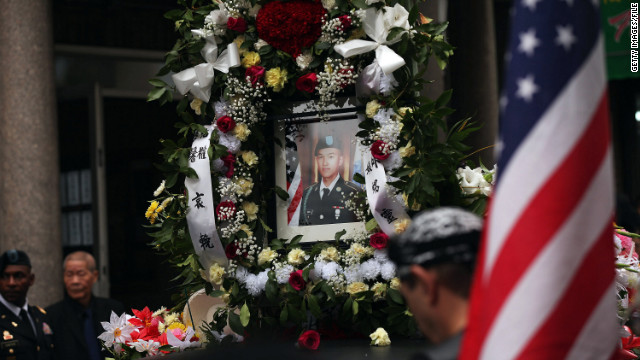 Army Pvt. Danny Chen is honored in a funeral procession on October 13, 2011, in New York's Chinatown.