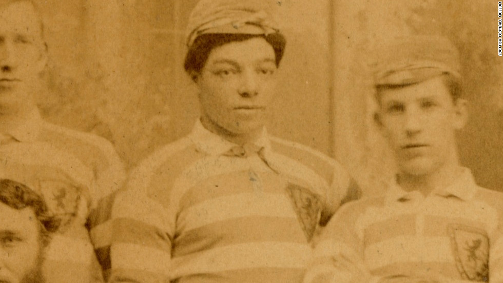 Watson is pictured here alongside his international teammates in 1882. He was a key part of the Scotland team which pioneered a short passing style of football.