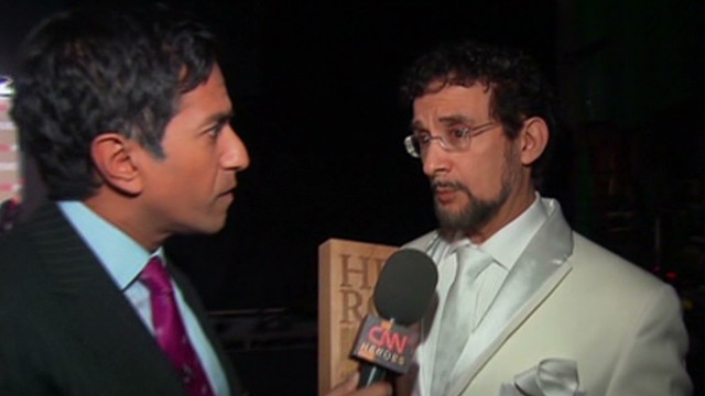 CNN Hero Sal Dimiceli talks with Dr. Sajay Gupta backstage at the 2011 Heroes tribue in Los Angeles