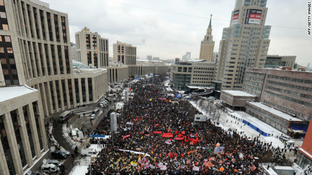 Thousands of protesters flooded through Moscow streets Saturday, calling for fair elections.