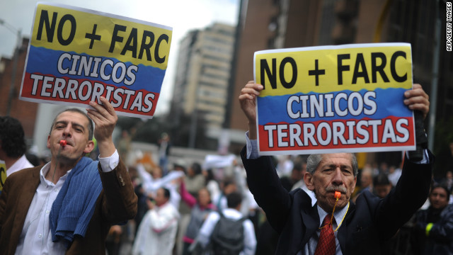 Colombians protest in Bogota against the FARC guerilla group on December 6, 2011.