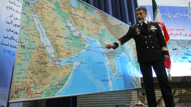 Iran's Navy Commander Adm. Habibollah Sayari speaks to the press last week about Iran's 10-day military exercise.