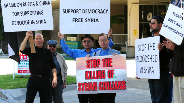 Syrian-Americans in front of the Chinese consulate in Los Angeles protest the UN veto by China and Russia condemning the Syrian crackdown.