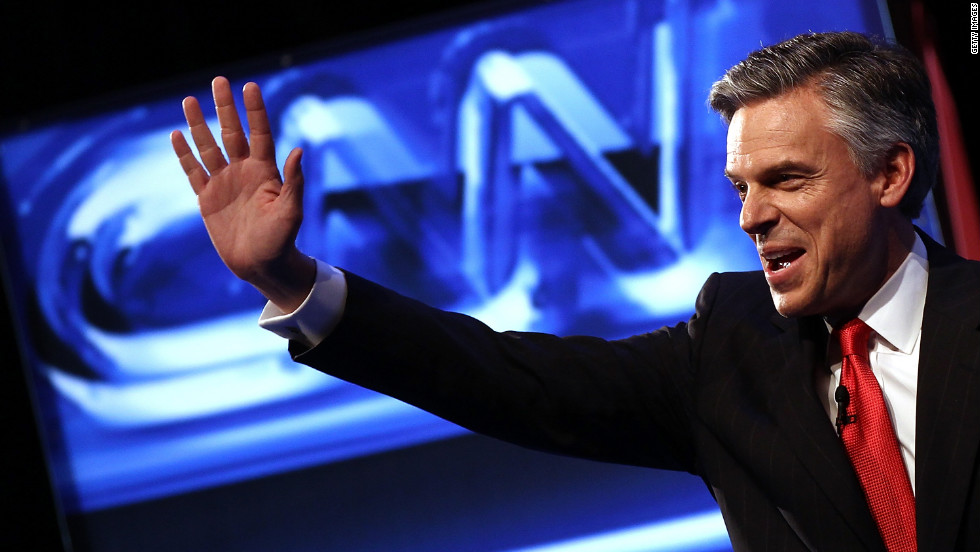 Former Utah Governor Jon Huntsman waves at a debate in November. Huntsman is a former ambassador to China for President Barack Obama's administration. He is skeptical of U.S. involvement in Afghanistan and supports same-sex civil unions. Opinion polls indicate he is not winning support from grass-roots conservatives.
