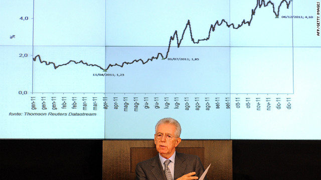 Italian Prime Minister Mario Monti gives a news conference in Rome on Thursday.