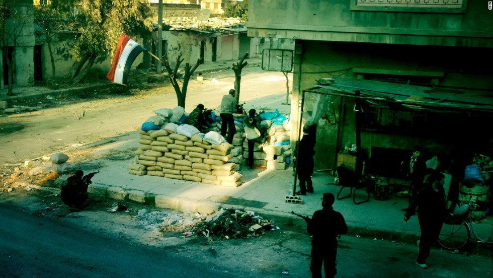 A checkpoint controlled by the Free Syrian Army is pictured in the neighborhood of Baba Amr in Homs.