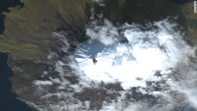 True-color satellite image of Cleveland Volcano collected by the Worldview-2 sensor on October 7, 2011.
