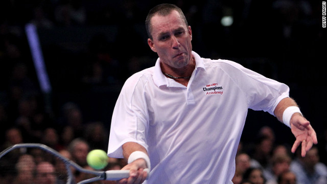 Czech legend Ivan Lendl plays a return during a Champions Tour match this year.