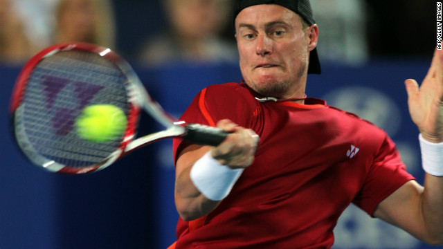 Lleyton Hewitt in typically determined mood in his Hopman Cup match against Fernando Verdasco.
