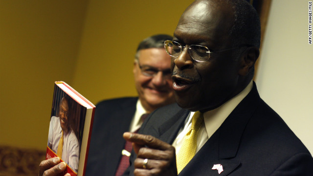 Herman Cain jokes about his book at a campaign appearance in Arizona in October.