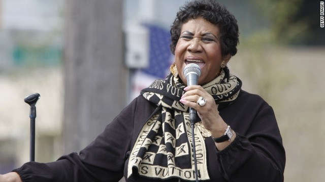 Aretha Franklin performs during a Labor Day event on September 5, 2011 in Detroit.