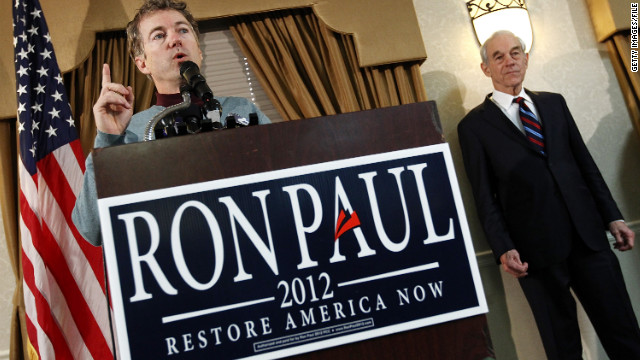Kentucky Sen. Rand Paul joins his father, GOP presidential hopeful Rep. Ron Paul, on the campaign trail on Monday.
