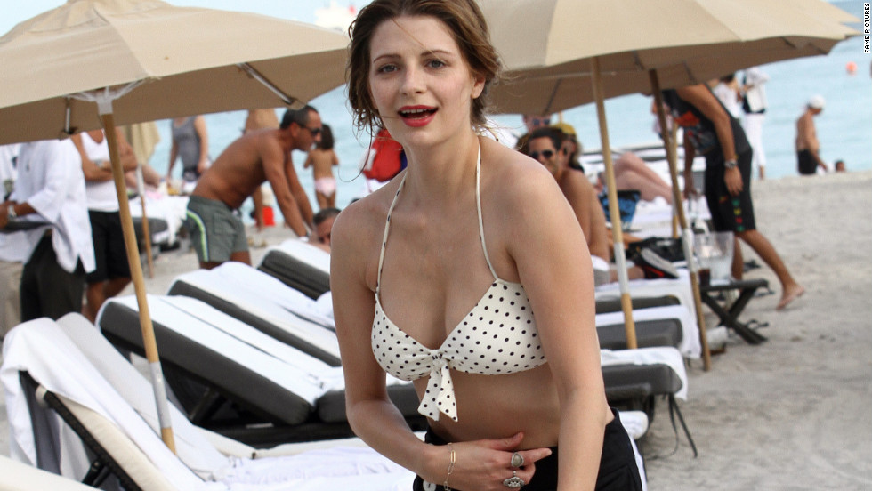 Mischa Barton spends time on a beach in Miami.
