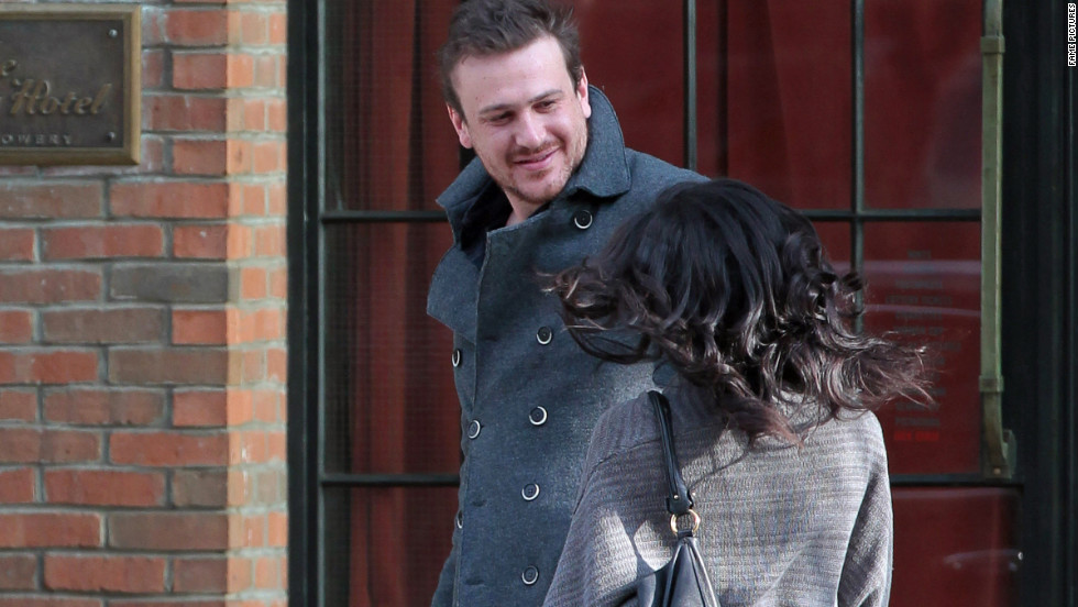 Jason Segel leaves a hotel in New York City.