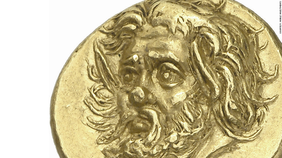 The most valuable coin in the collection is this Pantikapaion gold stater, depicting the head of a bearded satyr, which is expected to sell for more than $650,000.