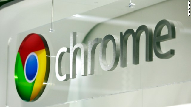The Google Chrome logo is displayed at a store in London last year.