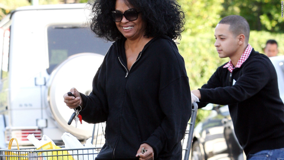 Diana Ross goes grocery shopping in Los Angeles.