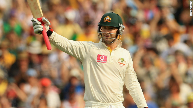 Australia captain Michael Clarke salutes the crowd on his way to a record-breaking total of 251.