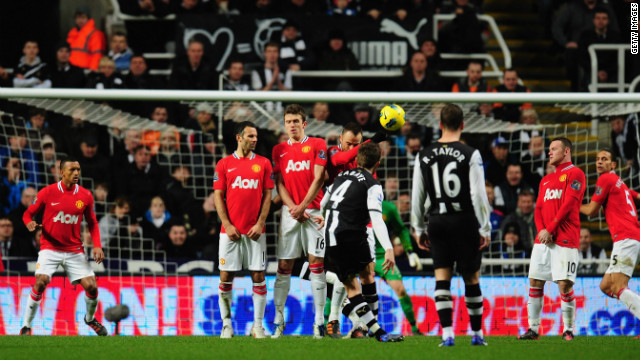 Yohan Cabaye scores Newcastle's second goal with a superb free-kick that went in off the underside of crossbar.