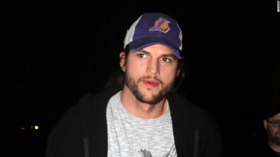 Ashton Kutcher roams around Hollywood.