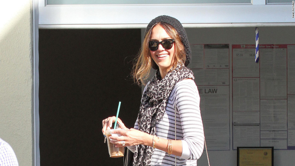 Jessica Alba grabs coffee in Santa Monica.